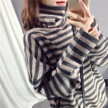Winter Turtleneck Pullover Womens befree Knit Sweater 2018 New Korean Loose Warm Female Bat sleeve stripes Sweaters 624