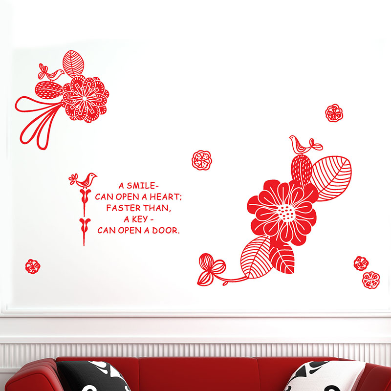Diy Removable Black Red Color Flower Wall Stickers Creative Letter