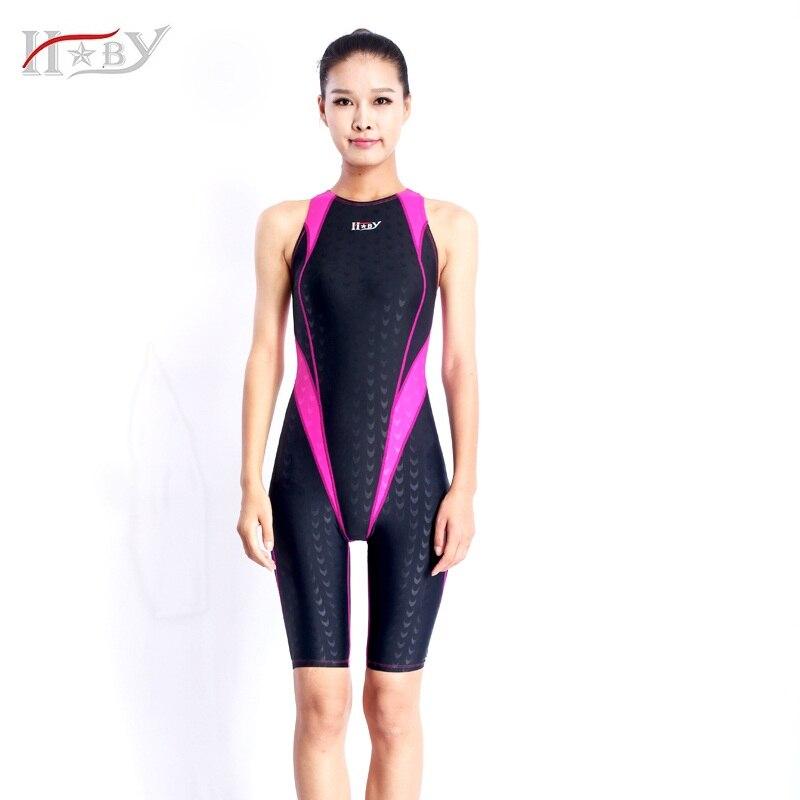 2017NEW!!!HXBY swimwear  kids girls racing chlorine resistant training professional sharkskin knee women training swimsuits