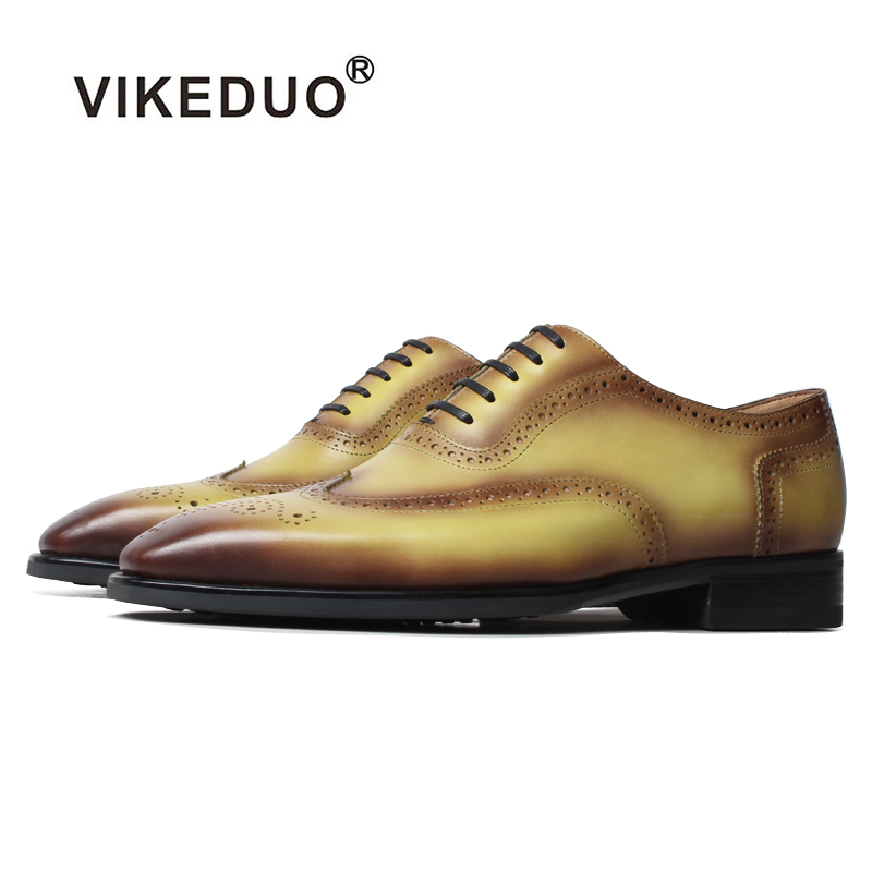 VIKEDUO Stylish Formal Dress Shoes Genuine Leather Full Brogues Wedding Office Men's Shoes Patina Handmade Fashion Footwear Mans