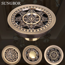 цены Antique Brass Floor Drain Bathroom 10cm Shower Drain Bathroom Waste Grate Drain Free Shipping Round 4