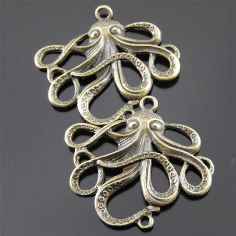 2-10 pcs ขนาดใหญ่สร้อยคอจี้ 5*4 ซม. Retro Bronze Octopus Charms Handmade แขวนหลุมเครื่องประดับโบฮีเมีย Choker DIY