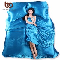Wholesale Silk Sheets China Silk Bedspreads Bed Linen Cotton 4pcs Of Blue Silk Duvet Cover Sets