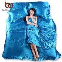 BeddingOutlet Bedding Set Mượt Tấm Trung Quốc Khăn Trải Giường bằng Lụa king Size Tím Xanh Khăn Trải Giường Satin Tấm Chăn Che 3/4 cái