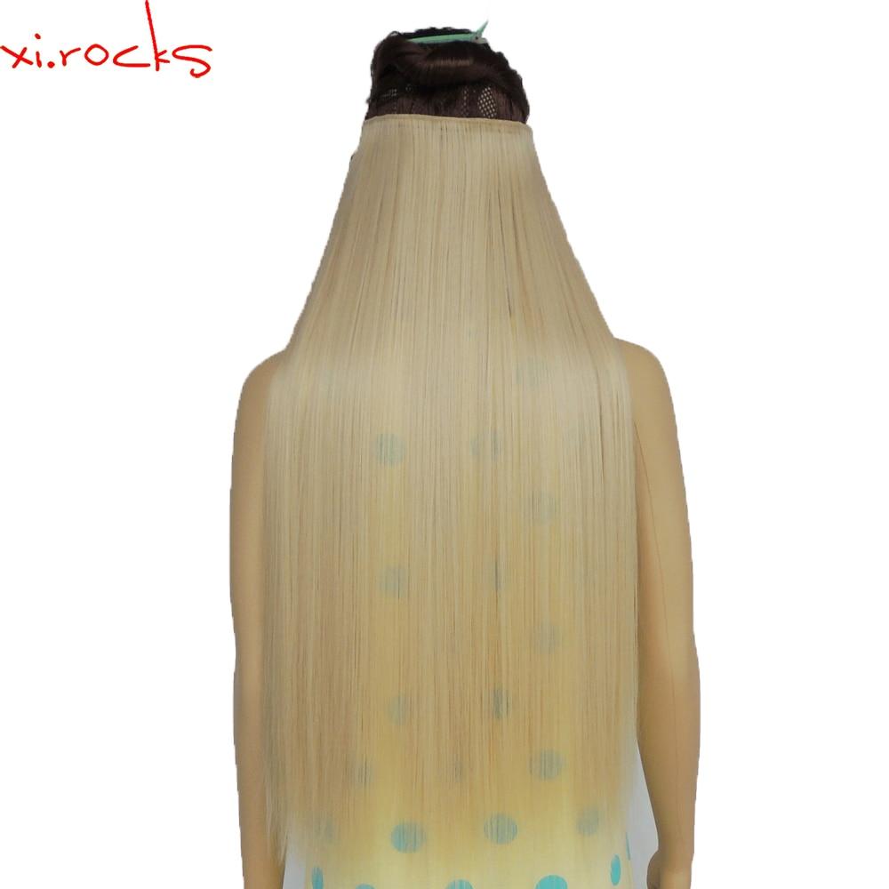 Wjz12070 5 peças/lote Xi. rochas 28 polegada Comprimento Em Linha Reta Clipe da Extensão Do Cabelo Sintético Clips Hairpiece perucas Loira peruca Cor de Linho
