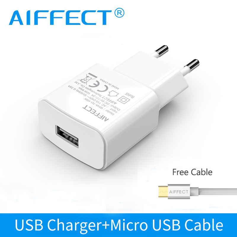 AIFFECT Travel Wall Charger USB Charger Adapter EU Plug 5W 1s