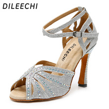 DILEECHI Silver Glitter Rhinestone Latin Dance Shoes Women S