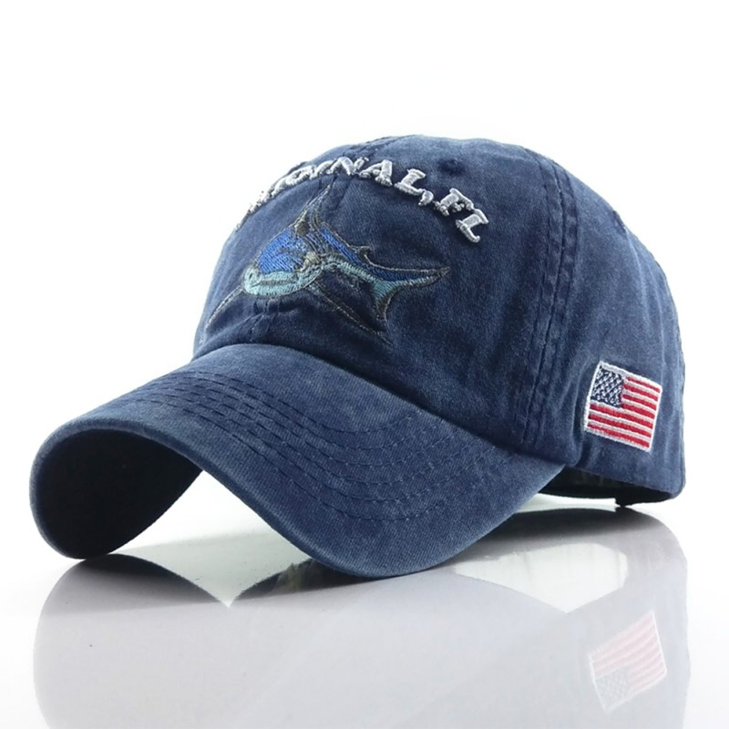 New washed cotton shark golf cap fitted cap snapback hat adjustable size gorras casual casquette embroidery letter retro cap