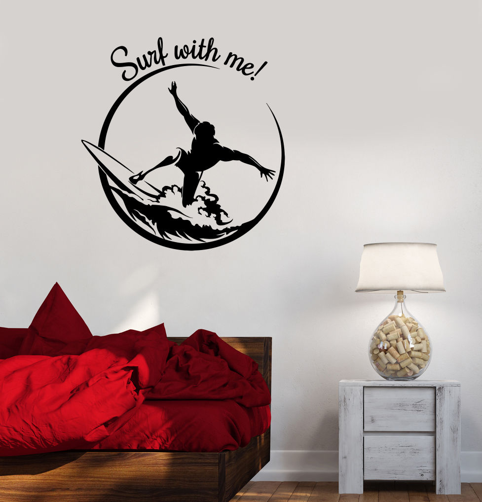 2016 new fashion vinyl decal surf surfing quote extreme sport teen room wall stickers for livingroom - Sports Wall Stickers For Bedrooms