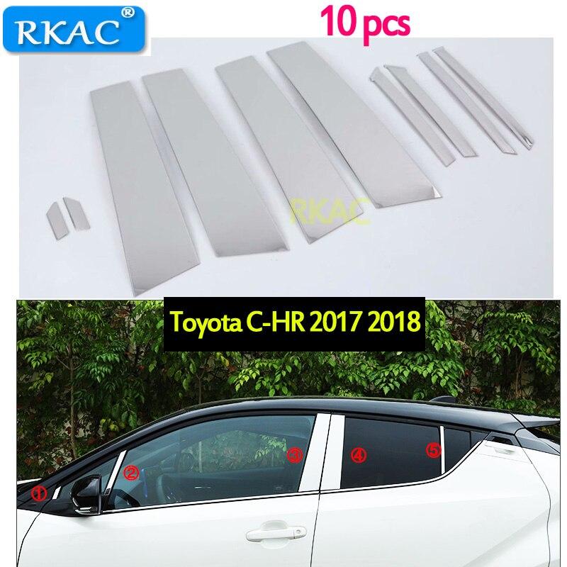 RKAC For Toyota CHR C HR 2017 2018 car styling stick stainless steel glass window garnish pillar middle column trim hoods