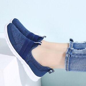 Image 5 - حذاء رياضي نسائي صيفي STQ موضة 2020 حذاء نسائي شبكي يسمح بالتهوية حذاء باليه مسطح سهل الارتداء بدون كعب مقاس كبير 7696