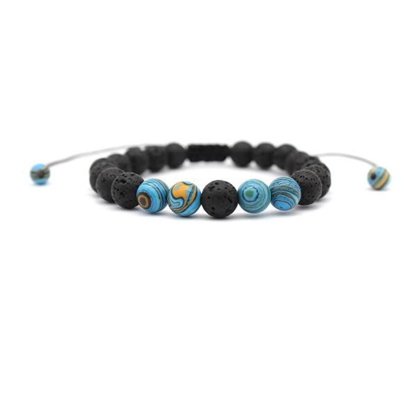 2 Pcs Natuur Steen Lava Stone Bead Charm Armbanden Bangles Yuga Energey Boeddha Strand Armband Sieraden Accessoires Hand Chain