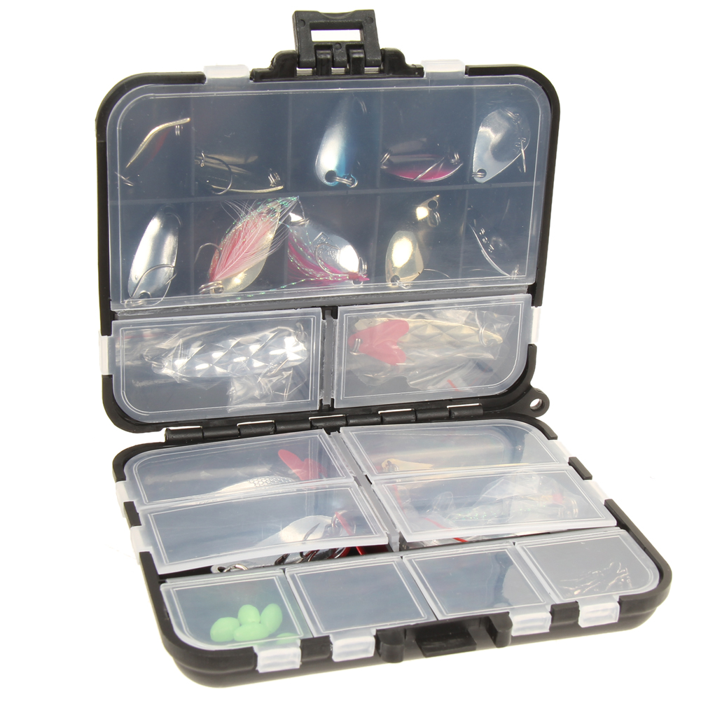 37 pieces set metal spoon fishing lure kits spinning for Fishing tackle kits