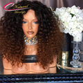 Density 180% Thick Ombre Kinky Curly Human Hair Full Lace Wigs Ombre Blonde Kinky Curly Virgin Hair Glueless Lace Front Wigs