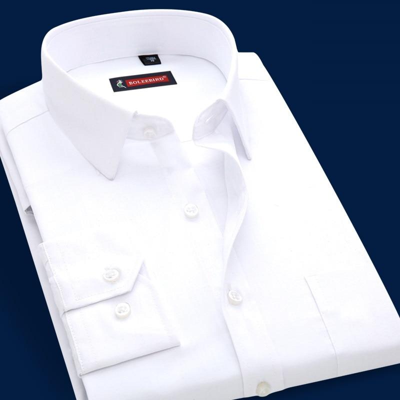 Men's Long Sleeve White Shirt Brand Business Casual Dress Male Shirt Classic Business Occupation Men Clothing Big Plus Size Blue