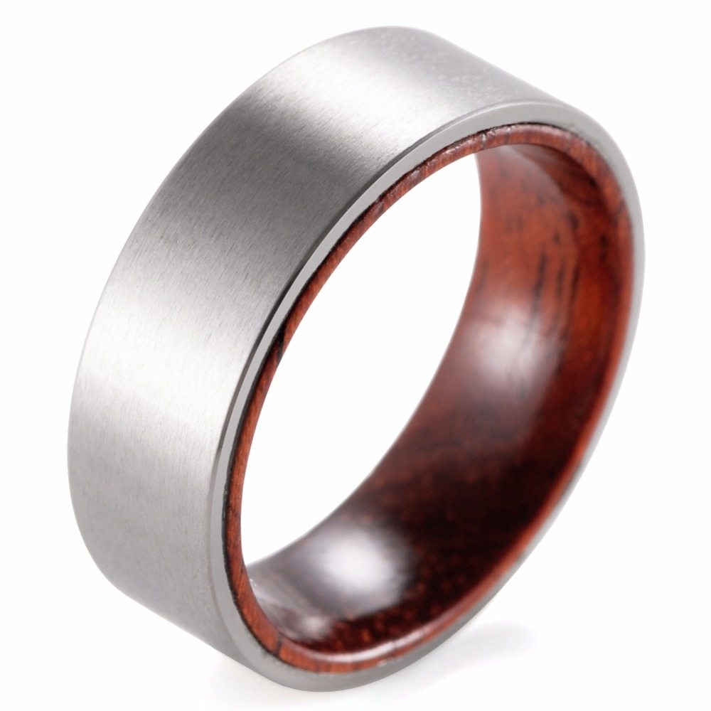 SHARDON 8mm Titanium And Koa Wood Ring With Matte