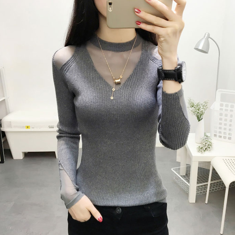 2020 Plush Woman Sweater With Mid-high Lace Neck And Tight Net Red Bottom Sweater Knitted Shirt In Autumn And Winter