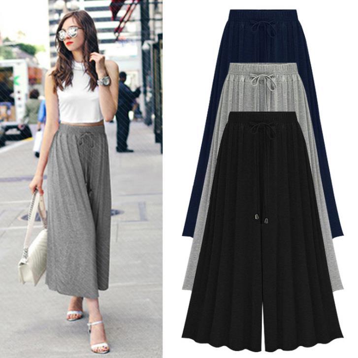 plus size m- 6XL 2018 fashion women summer stretchy waist high waist ankle-length   wide     leg     pants
