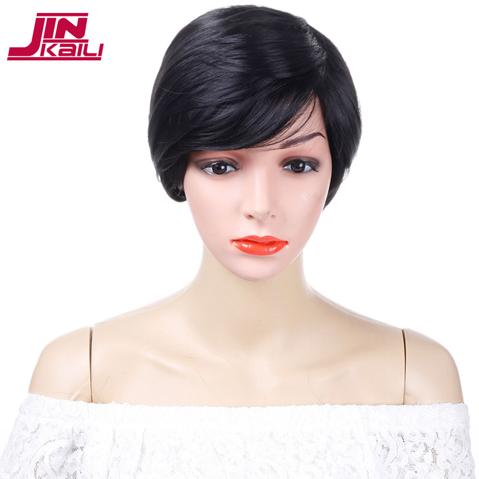 JINKAILI WIG Black Short Straight Bob Wigs with Side Bangs Heat Resistant Synthesis Cosplay Wig For Women Wigs