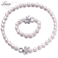 Natural cultured freshwater pearl jewelry sets women baroque10 11mm pearl sets bracelet necklace jewelry fine jewelry