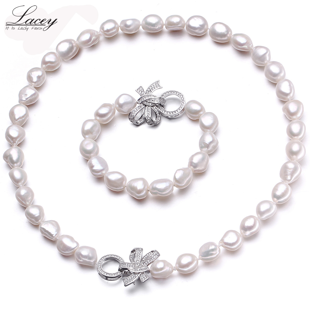 Natural cultured freshwater pearl jewelry sets women baroque10-11mm pearl sets bracelet necklace jewelry fine jewelry