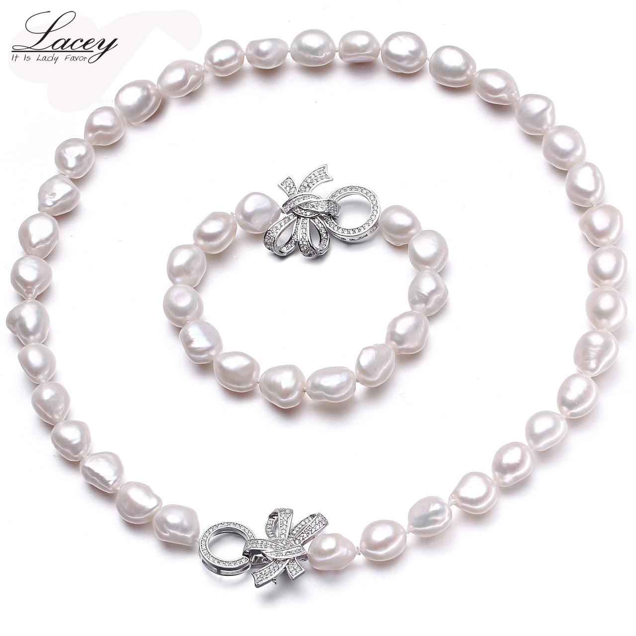 Natural cultivado conjuntos de jóias de pérolas de água doce mulheres baroque10-11mm conjuntos de pérolas pulseira colar de jóias finas jóias