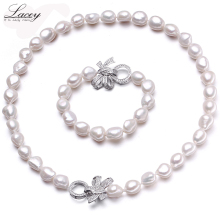 Natural cultured freshwater pearl jewelry sets women baroque10-11mm bracelet necklace fine