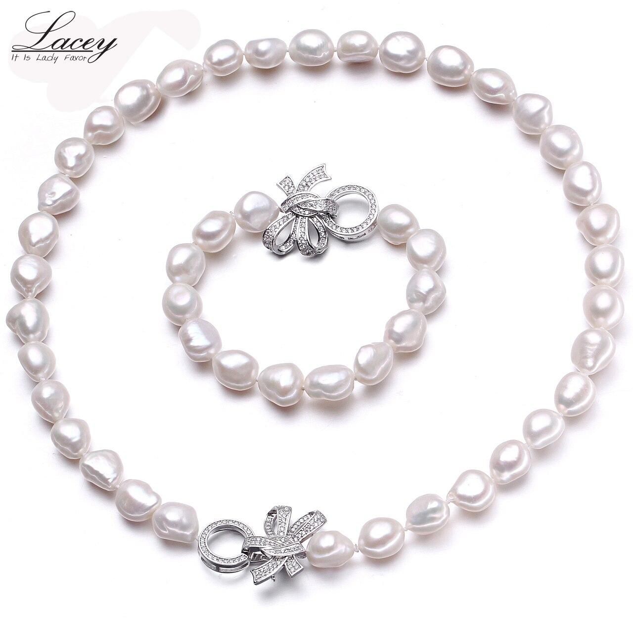 Naturel de culture d'eau douce perle ensembles de bijoux femmes baroque10-11mm perle définit bracelet collier bijoux fine jewelry