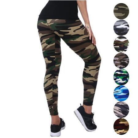 2019 Printing Elasticity Camouflage Fitness Pant Legins Casual Milk