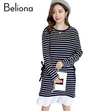65cf9411889 Fall Winter Stripe Patchwork Maternity Dresses for Pregnant Women Long  Loose Casual Pregnancy Clothes Charming Maternity-dress
