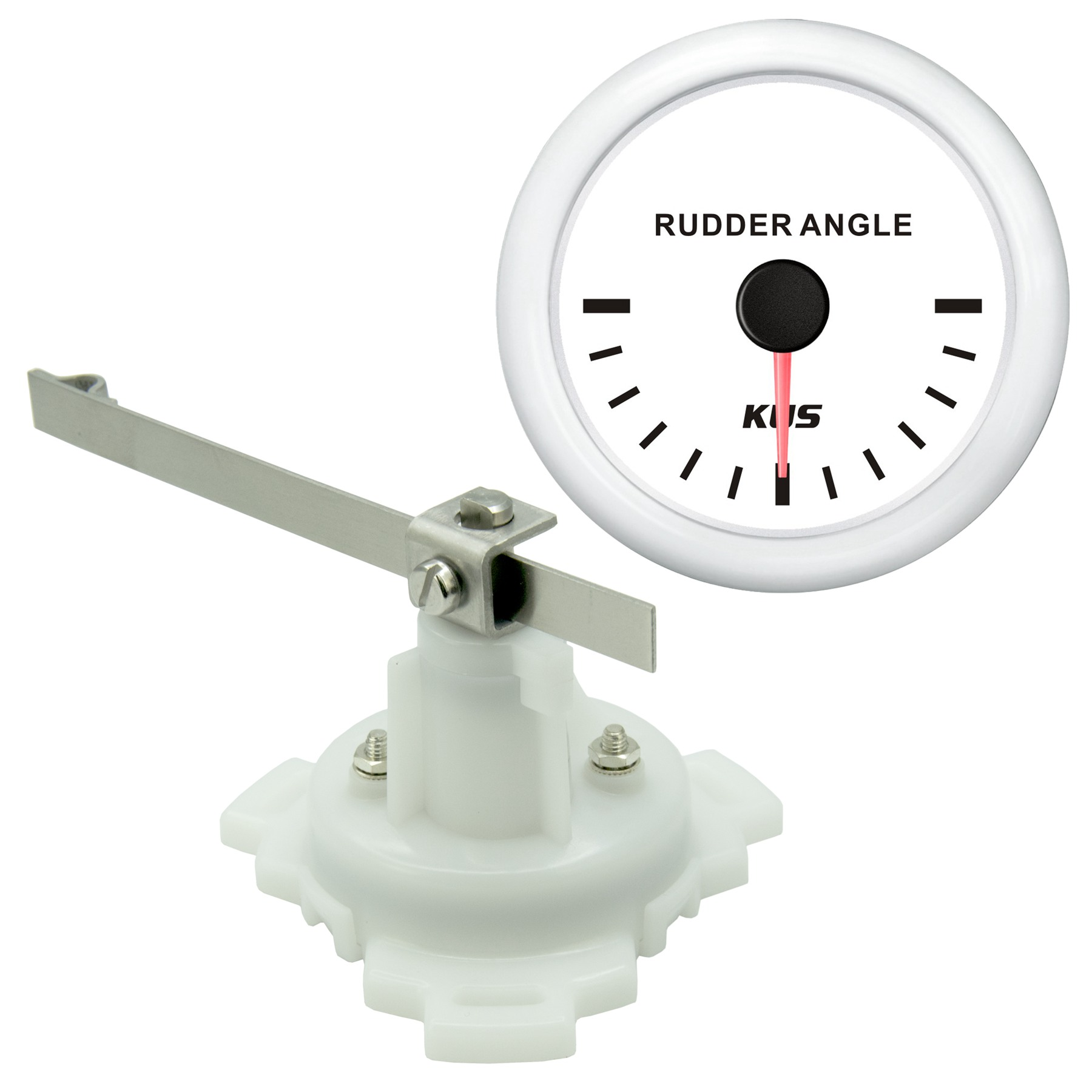 KUS Marine Rudder Angle Indicator Gauge 12/24V With Rudder Sensor 0-190ohms 52mm датчик kus 12v 24v