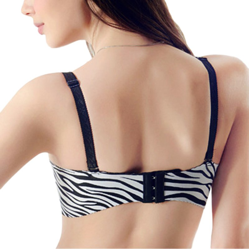3/4 Cup Sexy Deep V Seamless Adjustable Bras Zebra Stripe Padded Super Boost Push Up Bra Lady Lingerie Brassiere