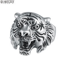 Винтажное кольцо из серебра 925 пробы с белым тигром мужское
