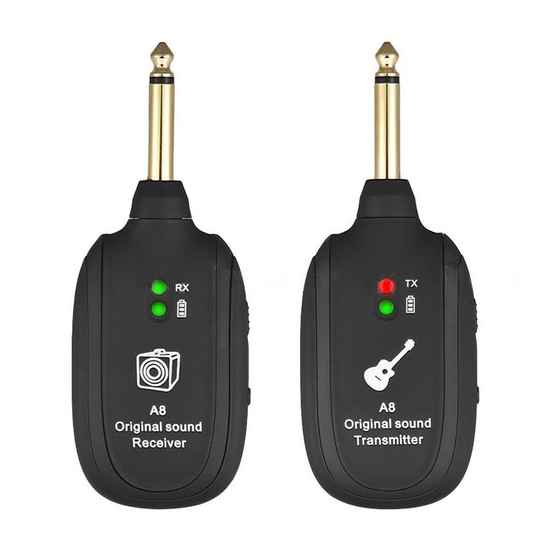 UHF Guitar Wireless System Transmitter Receiver Built-in Rechargeable Built- In Rechargeable Wireless Guitar Transmitter New Hot
