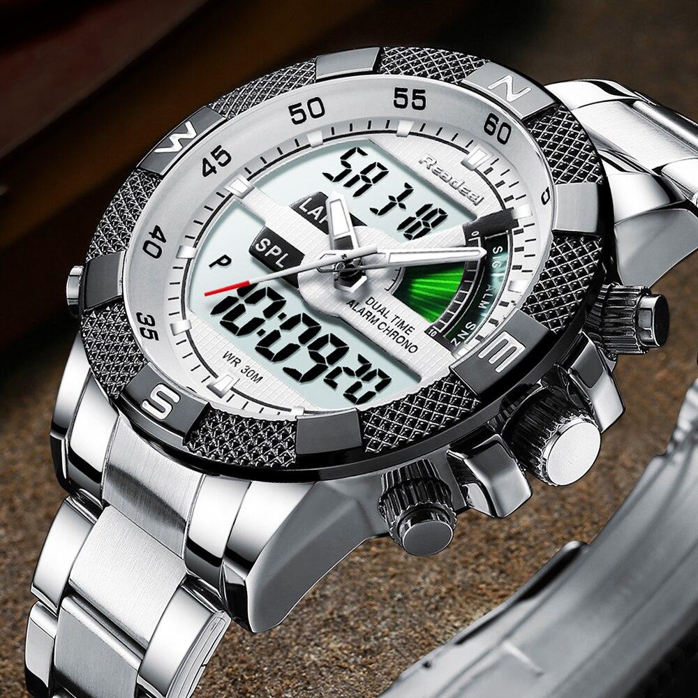 Fashion Luxury Brand Men's Watch Mens Sport Watch LED Quartz Watches Stainless Steel Army Military Wristwatch Relogio Masculino