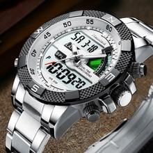 แฟชั่นแบรนด์หรูผู้ชายนาฬิกา Mens กีฬานาฬิกา LED ควอตซ์ LED นาฬิกาสแตนเลสทหารทหารนาฬิกาข้อมือ Relogio Masculino
