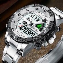 Reloj deportivo de lujo para hombre, LED, de cuarzo, de acero inoxidable, militar, Masculino