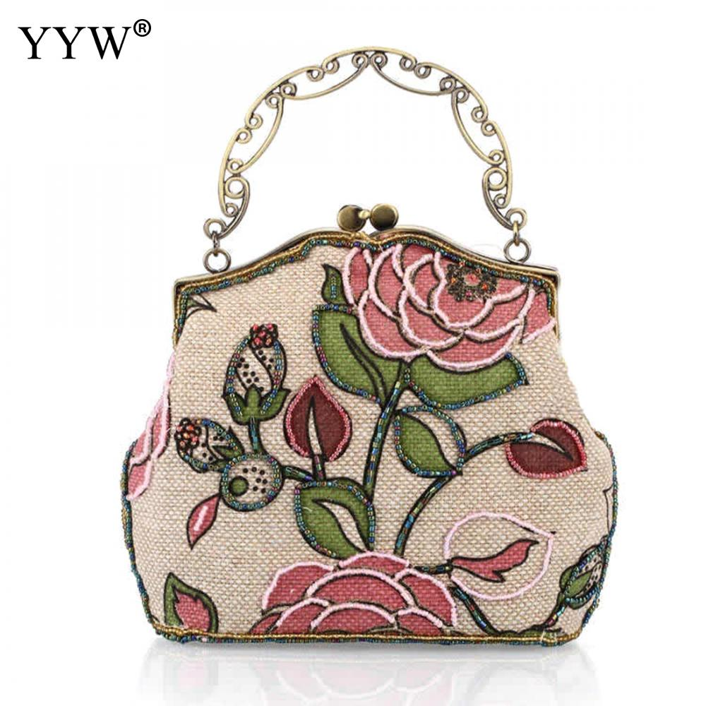 Vintage Women hand bags Floral Embroidery Beaded luxury bags women 2017 Button Lock