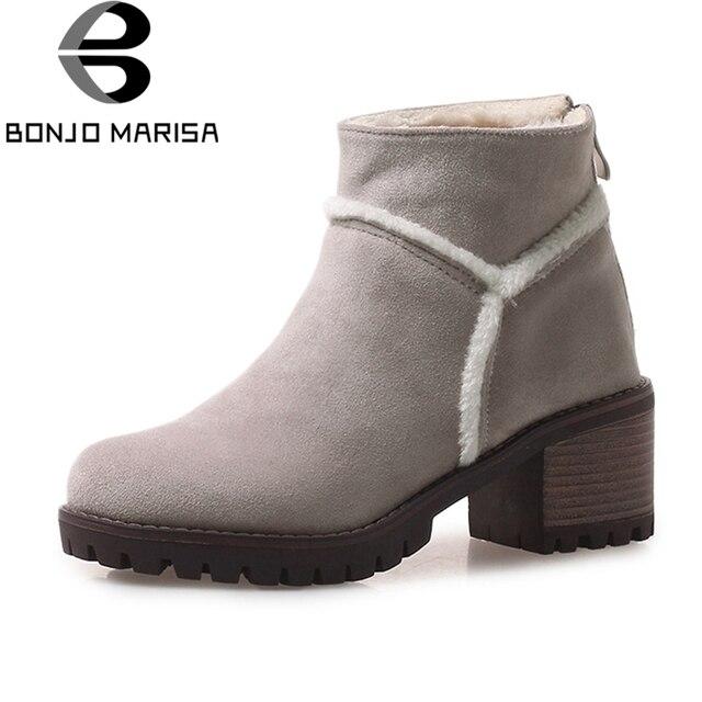 BONJOMARISA Large Größe 33 43 Sweet Fur Platform Platform Fur Ankle Snow Stiefel 4f38fe