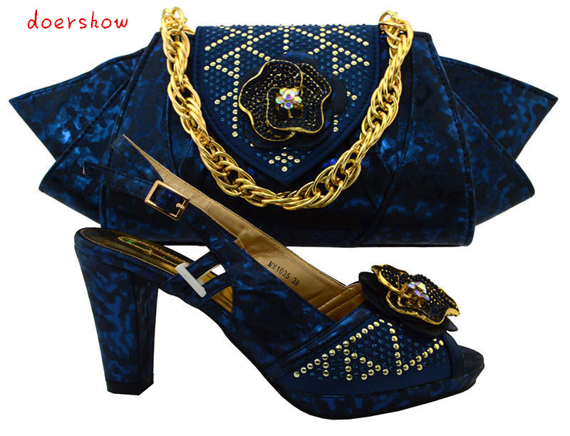 doershow Charming Italian Shoes With Matching Bags Rhinestones High Quality African Shoes And Bags Set for Wedding   TMM1-29