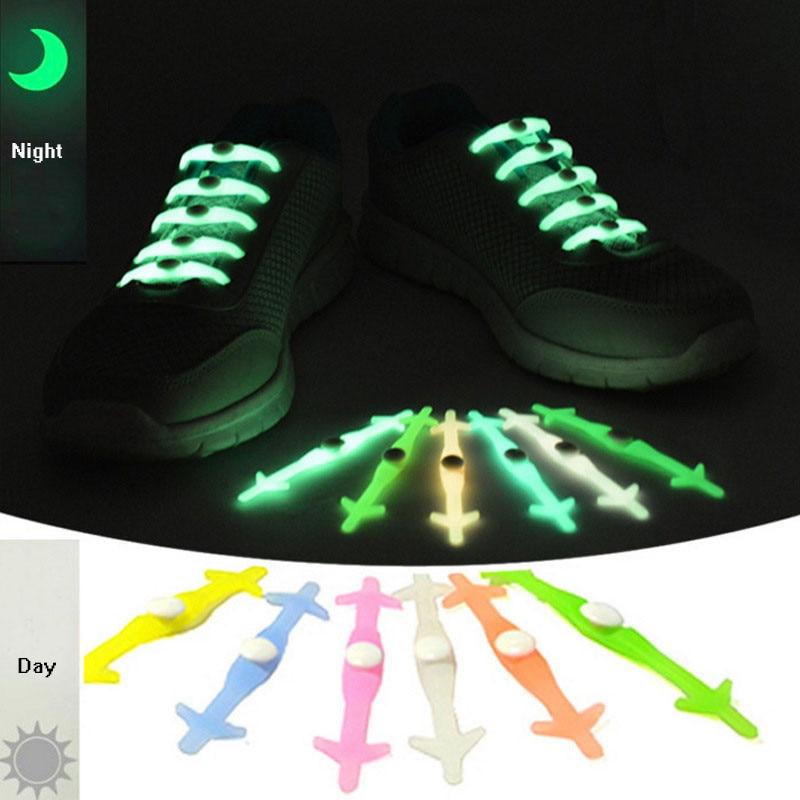 12pc Creative Design Unisex Women Men Noctilucence No Tie Shoelaces Elastic Silicone Shoe Lace All Sneakers 6 Colors Optional oem 12pc no