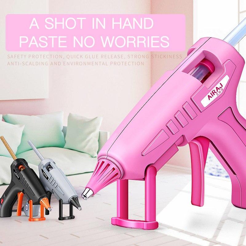 AIRAJ 70W/150W Hot Melt Glue Gun, Gift 70MM Pink/Gray/Transparent Glue Stick, Can Provide EU Conversion Plug Bonding Tools