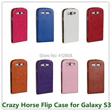 1PCS Fashion for Galaxy S3 i9300 Crazy Horse Pattern PU Leather Back Skin Pouch Cover for Samung SIII Magnetic Closure Free(China)