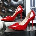 Estilo europeo 2015 de Primavera Y Otoño Nuevos de tacón alto de la Moda Boca baja Señaló Muy Bien Con zapatos Atractivos Solteros