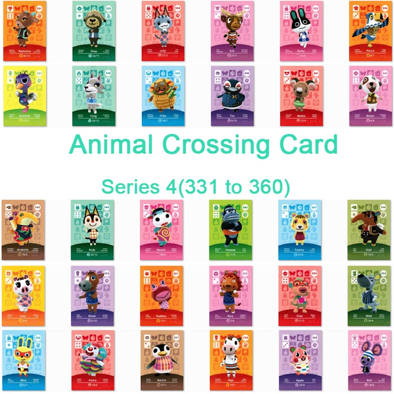 <font><b>Animal</b></font> <font><b>Crossing</b></font> <font><b>Card</b></font> <font><b>Amiibo</b></font> <font><b>Card</b></font> Work for NS Games Series 4 (331 to 360) image