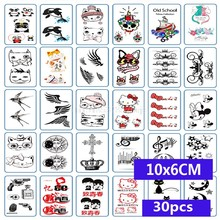 30 Sheet Multi Designs Flower Waterproof Temporary Tattoos Sticker Lavender Tatto Stickers Body Art Fake Tato wholesale(China)