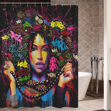 Art Design Graffiti Art Hip Hop African Girl with Black Hair Big Earring with Modern Building Shower Curtain for Bathroom Decor