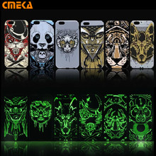 Brand Sky Beast Animals Forest King Lion Pattern Hard Back Phone Cases For iPhone se 5s 6 6s Plus Glow In The Dark Luminous Case