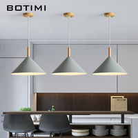 BOTIMI LED Pendant Lights For Dining Kitchen Colorful Lampadario Nordic Hanging Lamp Restaurant Luminaria Wooden Light Fixture