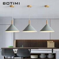 BOTIMI LED Pendant Light For Dining Kitchen Colorful Lampadario Nordic Hanging Lamp Restaurant Luminaria Wooden Light